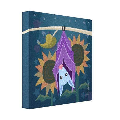Purple Bat in Sunflower Field Canvas Print