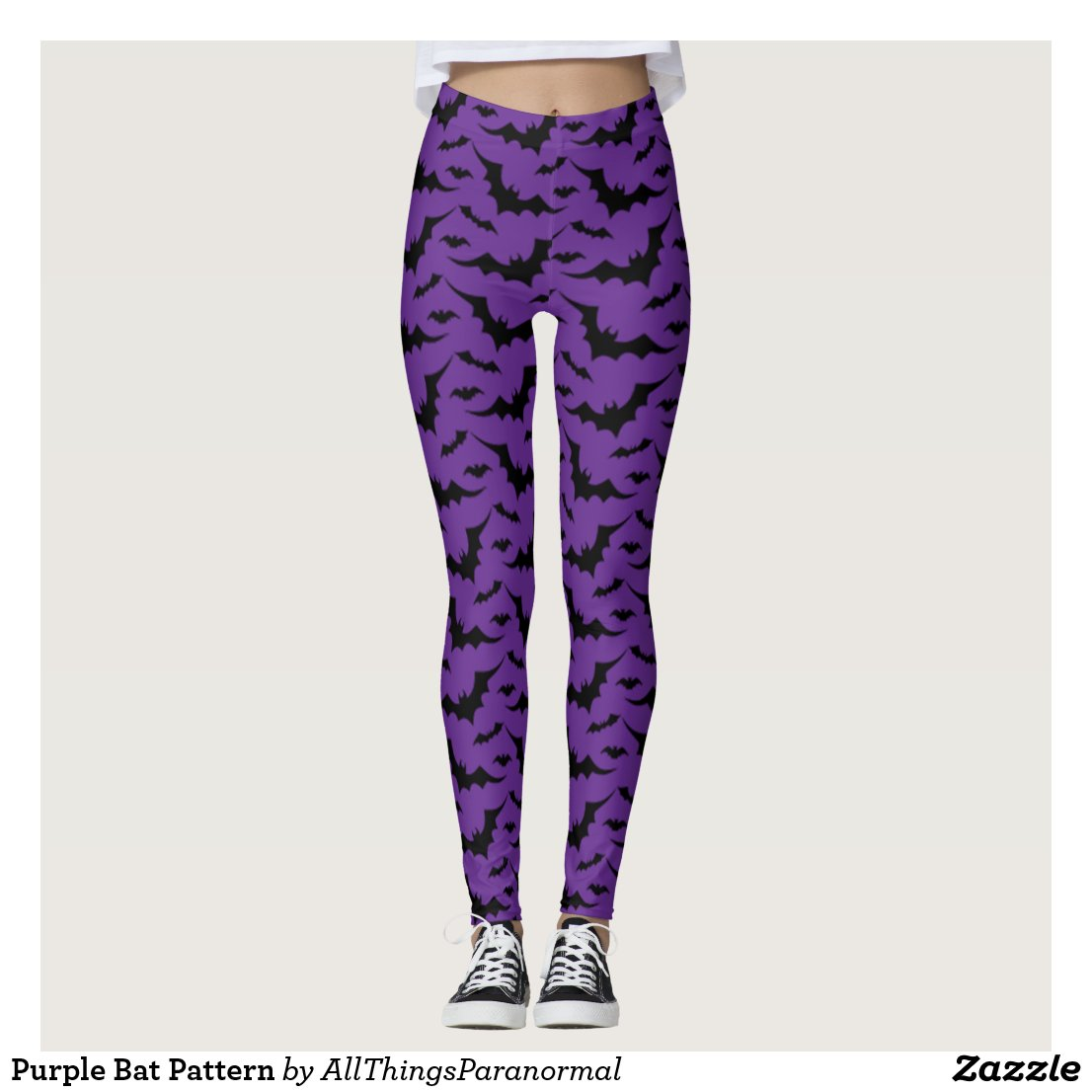Purple Bat Pattern Leggings