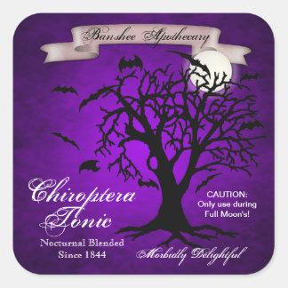 Purple Bat Tonic Halloween Bottle Stickers