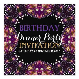 Purple Batik Bohemian Birthday Dinner Party Invite