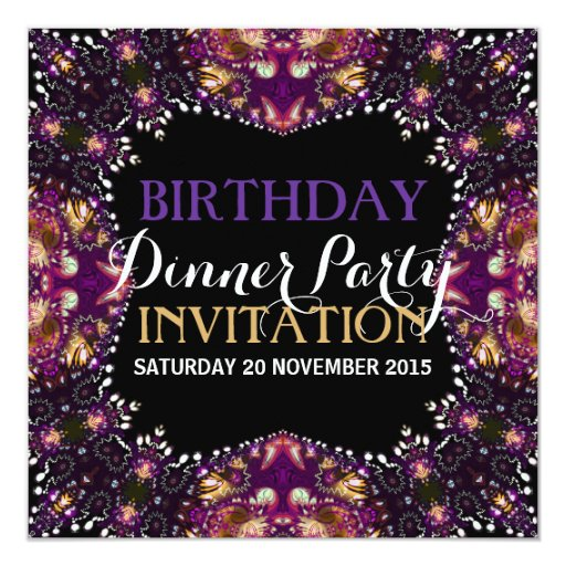 Purple Batik Bohemian Birthday Dinner Party Invite