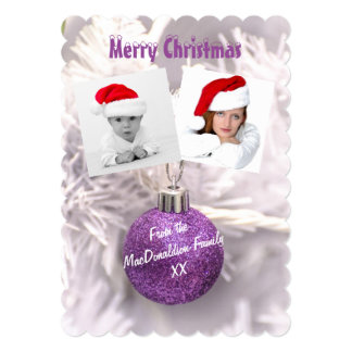 Purple bauble photo template Christmas