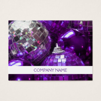 Purple Baubles business card template chubby white