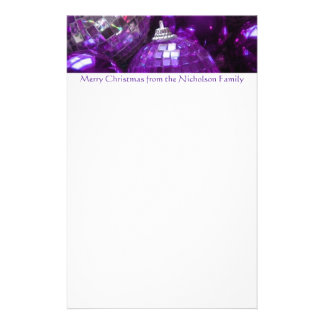 Purple Baubles header stationery purple text