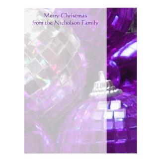 Purple Baubles letterhead side stripe purple text