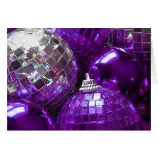 Purple Baubles 'Merry Christmas' greetings card