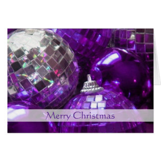 Purple Baubles 'Merry Christmas' stripe card