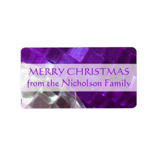 Purple Baubles mirror ball 'Family' label