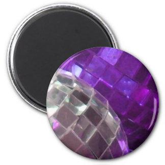 Purple Baubles mirror ball fridge magnet