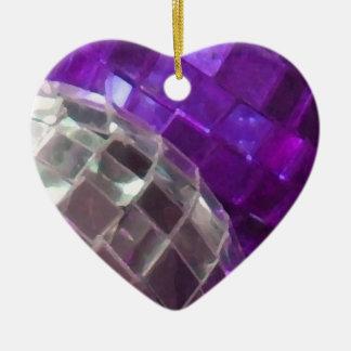 Purple Baubles mirror ball ornament heart