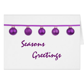 Purple Baubles on Ribbon Christmas Card