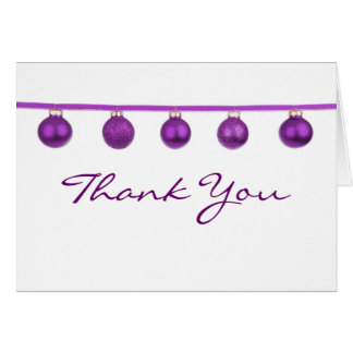 Purple Baubles on Ribbon Christmas Thank You Note Card
