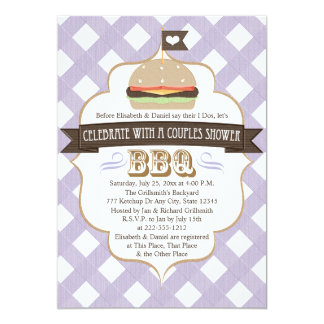 Purple BBQ Couples Wedding Shower Invitations