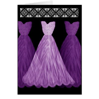 PURPLE Be My Bridesmaid Invitation with Lace Trim Greeting Cards
