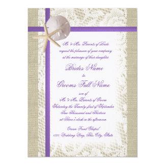 Purple Beach Burlap and Vintage Lace Wedding Card
