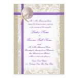 Purple Beach Burlap and Vintage Lace Wedding Personalized Invitation
