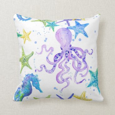 Beach Themed Purple Beach Coastal Octopus Seahorse Starfish Art Throw Pillow