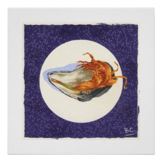 PURPLE BEACH MUSSEL & WITHERED ORANGE ACCENT POSTER
