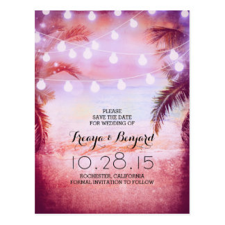 purple beach & palm string lights save the date postcard