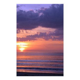 Purple Beach Sunset Personalized Stationery