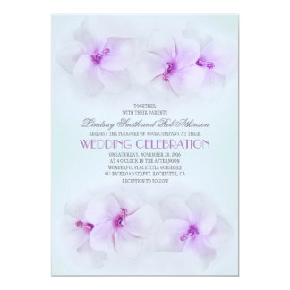 purple beach wedding invitation with hibiscus