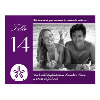 Purple Beach Wedding Photo Table Number Cards