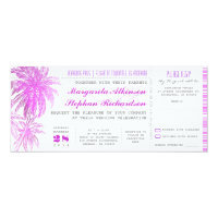 purple beach wedding tickets -boarding pass 4x9.25 paper invitation card (<em>$2.41</em>)