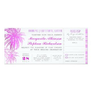 purple beach wedding tickets -boarding pass card