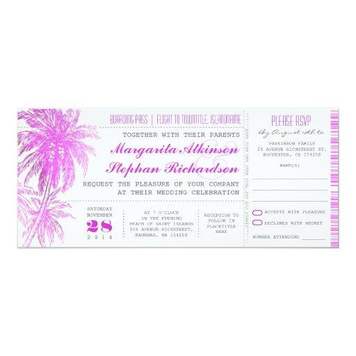purple beach wedding tickets -boarding pass 4x9.25 Paper Invitation Card
