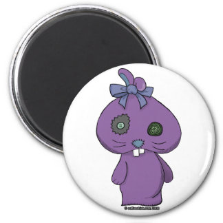Purple Beanbag Bunny 2 Inch Round Magnet
