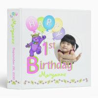 Purple Bear 1st Birthday Memories 1.5 Inch Binder