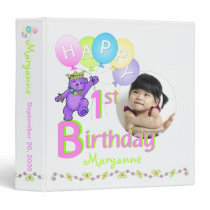 Purple Bear 1st Birthday Memories 1.5 Inch Binder