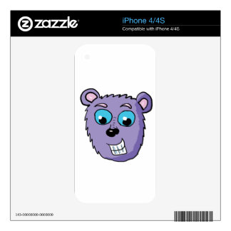 Purple Bear face Cartoon iPhone 4 Decal