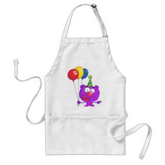 Purple bear wearing holding Birthday Balloons Adult Apron