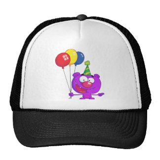 Purple bear wearing holding Birthday Balloons Hat