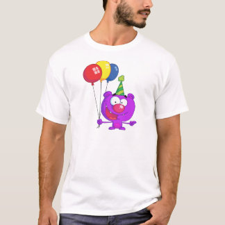 Purple bear wearing holding Birthday Balloons T-Shirt
