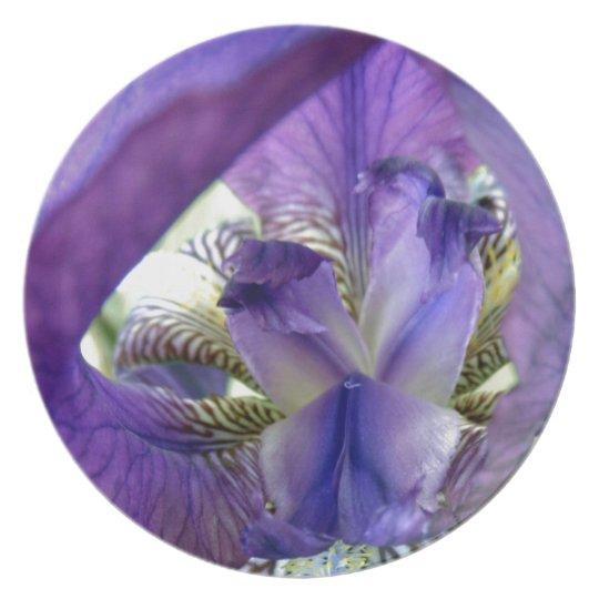 Purple Bearded Iris Flower Floral Macro Melamine Plate
