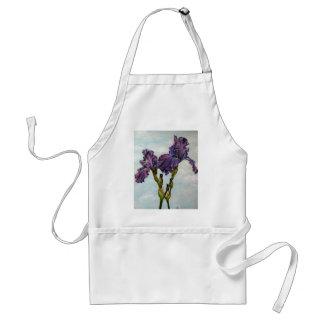 Purple bearded iris flowers adult apron