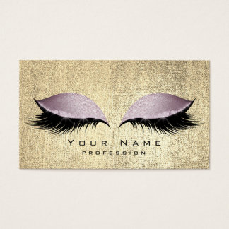 Purple Beauty Gold Lashes Makeup Eyes Glitter Business Card