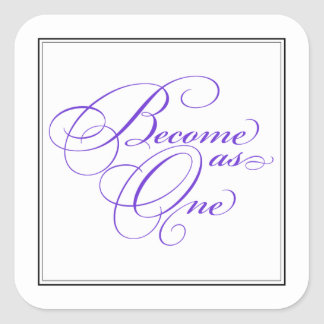 Purple Become as One Christian Wedding Stickers