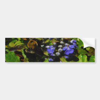 Purple Bee Balm and Bumble Bee Car Bumper Sticker
