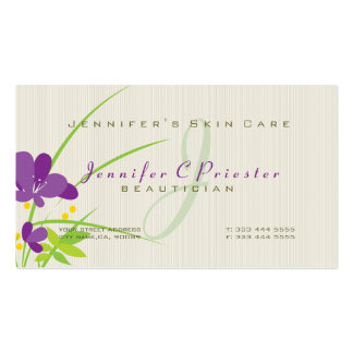 Purple Beige And Green Flower Illustration Business Card