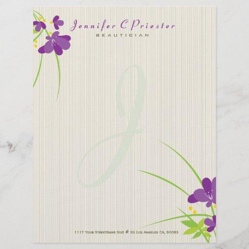 Purple Beige And Green Flower Illustration Letterhead