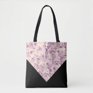 Purple/Beige/Black Floral Tote Bag