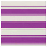 [ Thumbnail: Purple & Beige Colored Lined Pattern Fabric ]