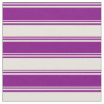 [ Thumbnail: Purple & Beige Colored Pattern of Stripes Fabric ]