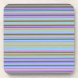 """Purple, Beige, Gray and Blue Lines Coaster<br><div class=""""desc"""">This design features a purple,  gray,  beige and blue lines/stripes of various widths.</div>"""