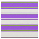 [ Thumbnail: Purple, Beige & Green Pattern of Stripes Fabric ]
