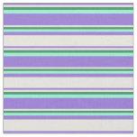[ Thumbnail: Purple, Beige, Sea Green, and Aquamarine Pattern Fabric ]