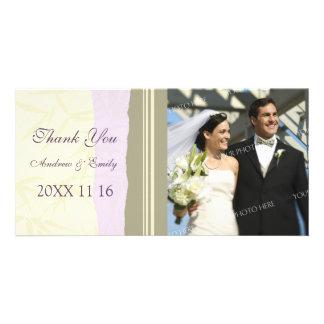 Purple Beige Thank You Wedding Photo Cards